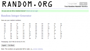 100 integers generated by random.org