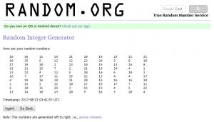 100 integers generated by random.org