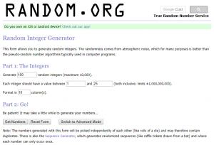 random.org integer generator inputs